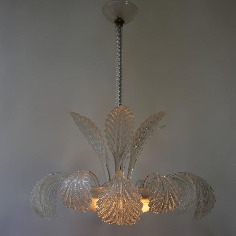 Mid-Century Modern Venini Murano Glass Chandelier Italy For Sale