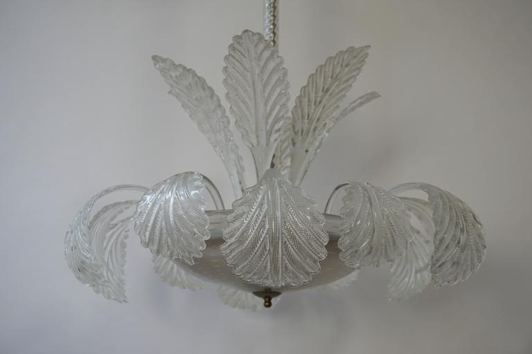 Brass Venini Murano Glass Chandelier Italy For Sale