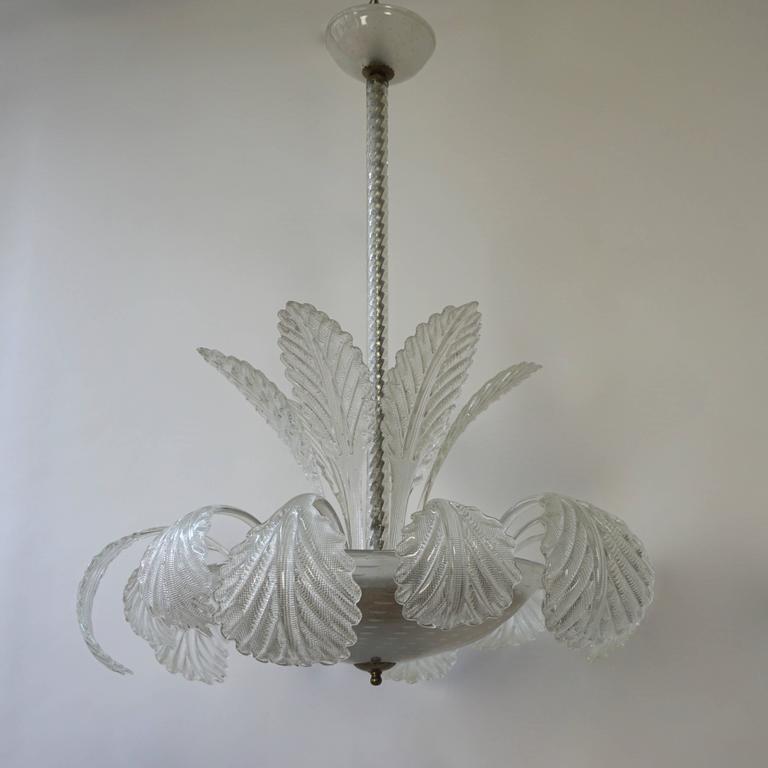 Italian Murano glass Venini chandelier or ceiling light. Diameter 68 cm. Height 90 cm. 3 E27 bulbs.