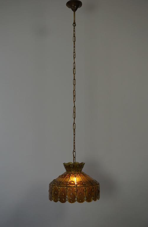 Brass Italian Glass Pendant Light For Sale