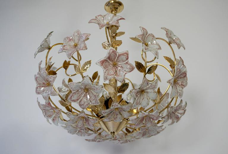 Mid-Century Modern Italian Murano Flower Chandelier with Gold Colored Brass Leaves For Sale