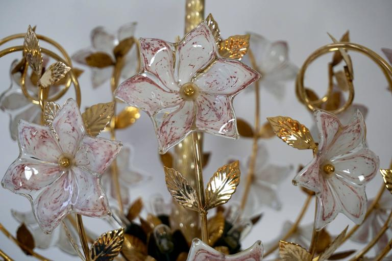 Italian Murano Flower Chandelier with Gold Colored Brass Leaves 10