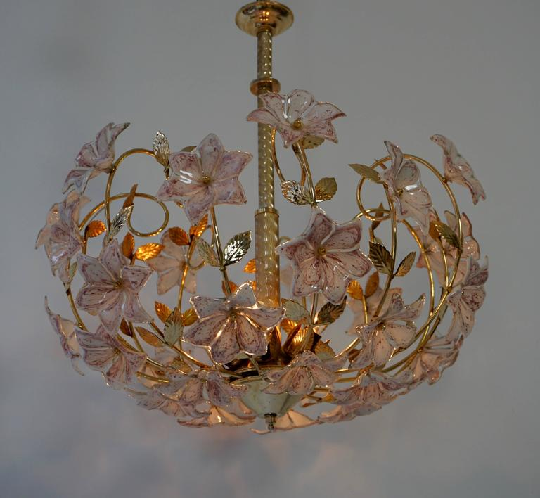 Italian Murano Flower Chandelier with Gold Colored Brass Leaves 4