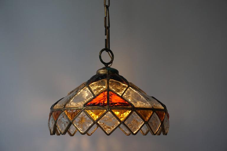 Rare Colored Stained Glass Ceiling Light For Sale 1