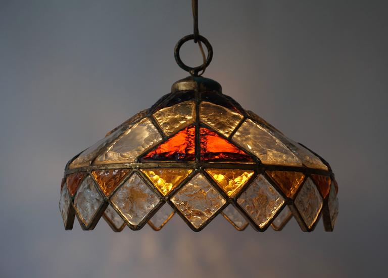 Rare Colored Stained Glass Ceiling Light In Good Condition For Sale In Antwerp, BE