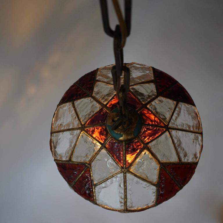 Mid-Century Modern Rare Colored Stained Glass Ceiling Light For Sale