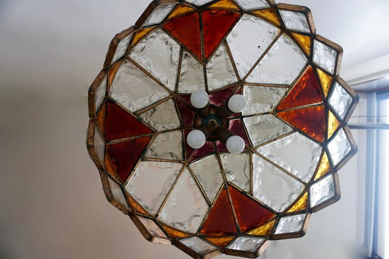 Rare Colored Stained Glass Ceiling Light For Sale 4