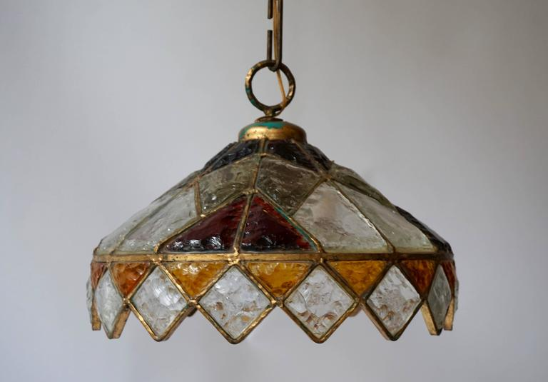 Rare Colored Stained Glass Ceiling Light For Sale 2