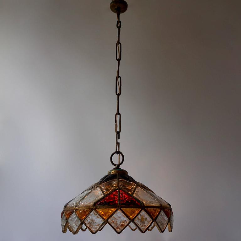 20th Century Rare Colored Stained Glass Ceiling Light For Sale