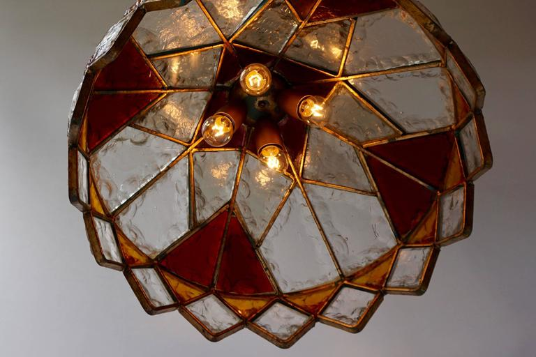 Italian Rare Colored Stained Glass Ceiling Light For Sale
