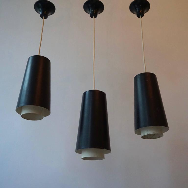 Danish Set of Three Pendant Lights For Sale