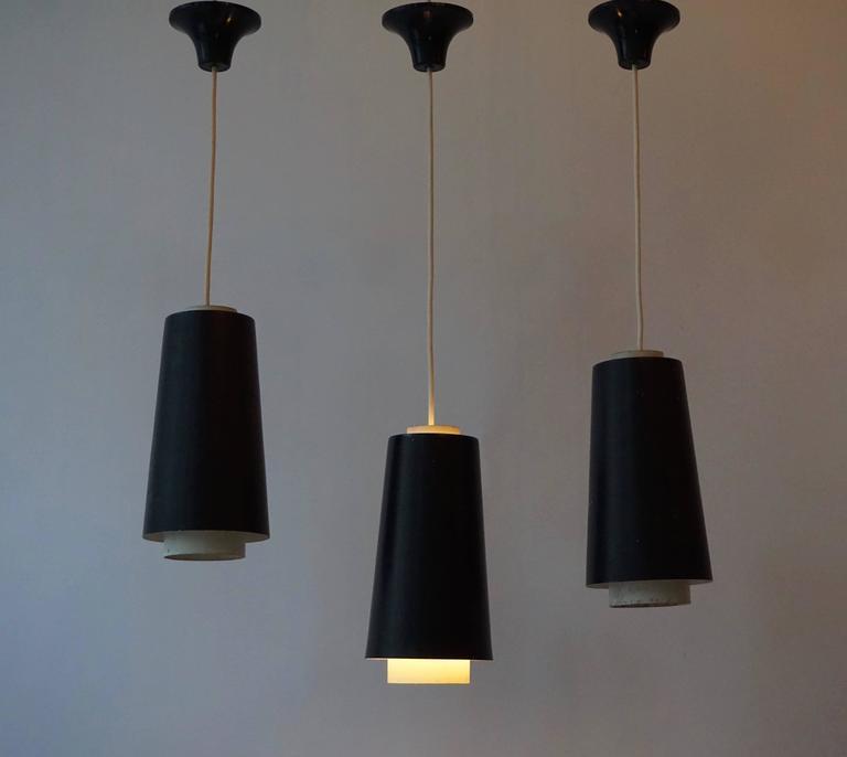 Mid-Century Modern Set of Three Pendant Lights For Sale