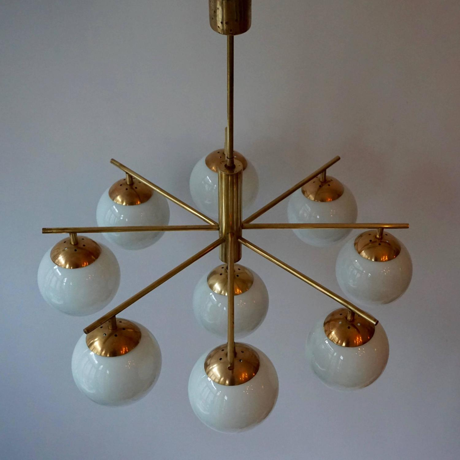 Italian Brass And Glass Chandelier At 1stdibs