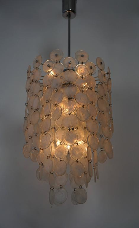 Brass Italian Murano Glass Chandelier For Sale