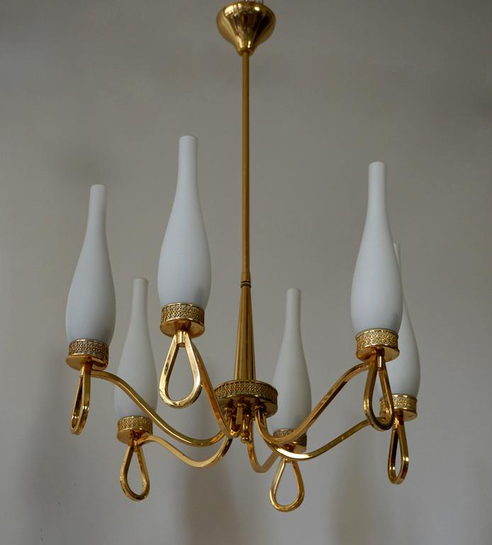 20th Century Hollywood Regency Gilt Brass and Opaline Glass Chandelier For Sale