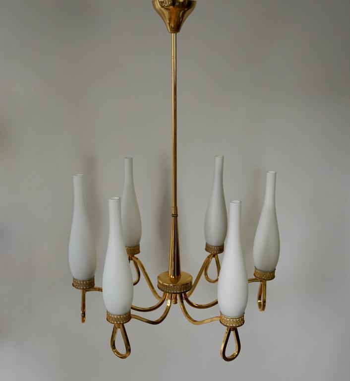 Italian Hollywood Regency Gilt Brass and Opaline Glass Chandelier For Sale