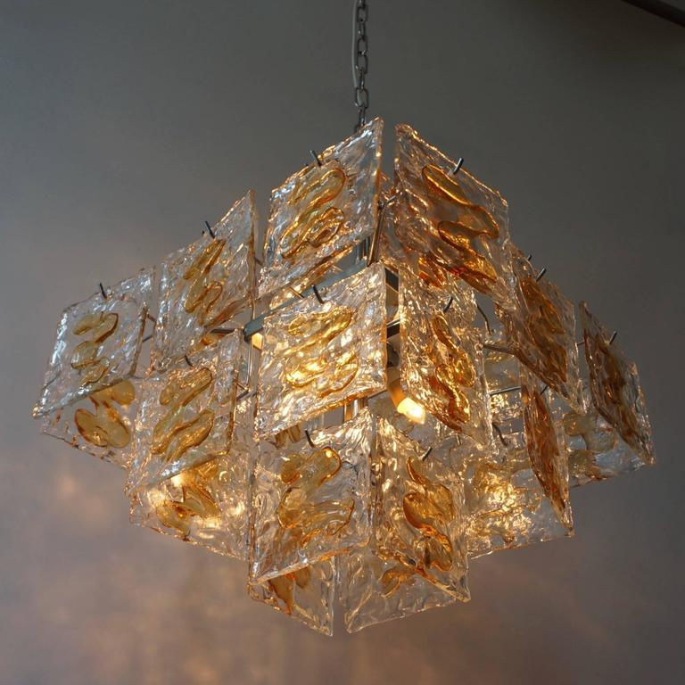 Space Age  Murano Glass Chandelier by Mazzega For Sale