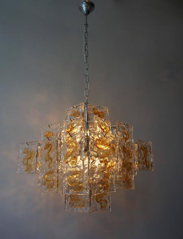 Murano Glass Chandelier by Mazzega For Sale 1