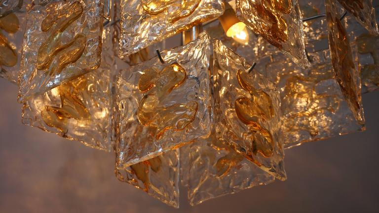 Murano Glass Chandelier by Mazzega For Sale 3