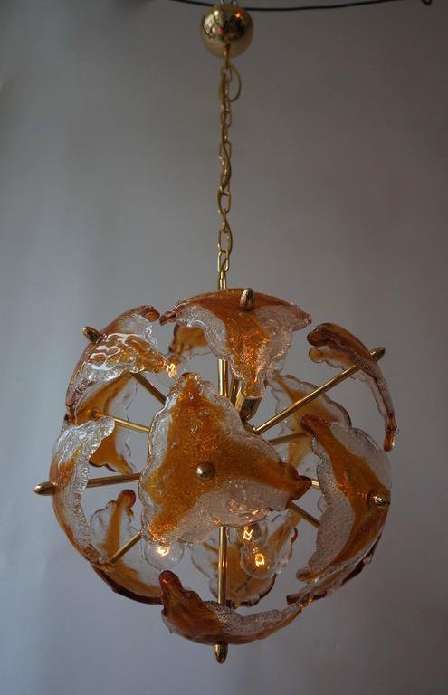 Three Murano Glass and Brass Sputnik Chandeliers For Sale 2