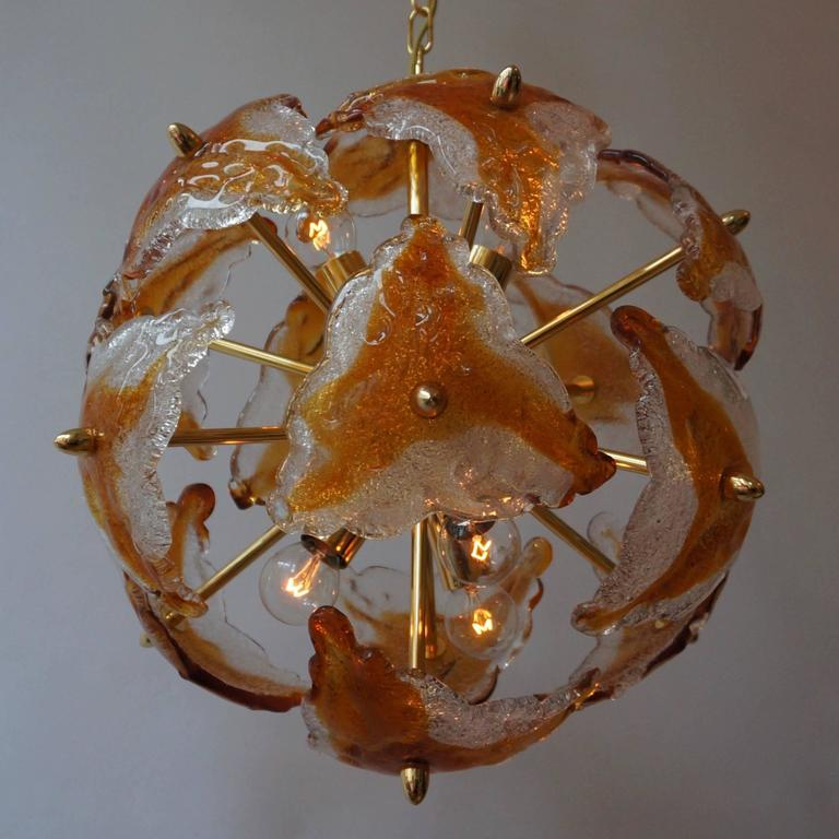 Mid-Century Modern Three Murano Glass and Brass Sputnik Chandeliers For Sale