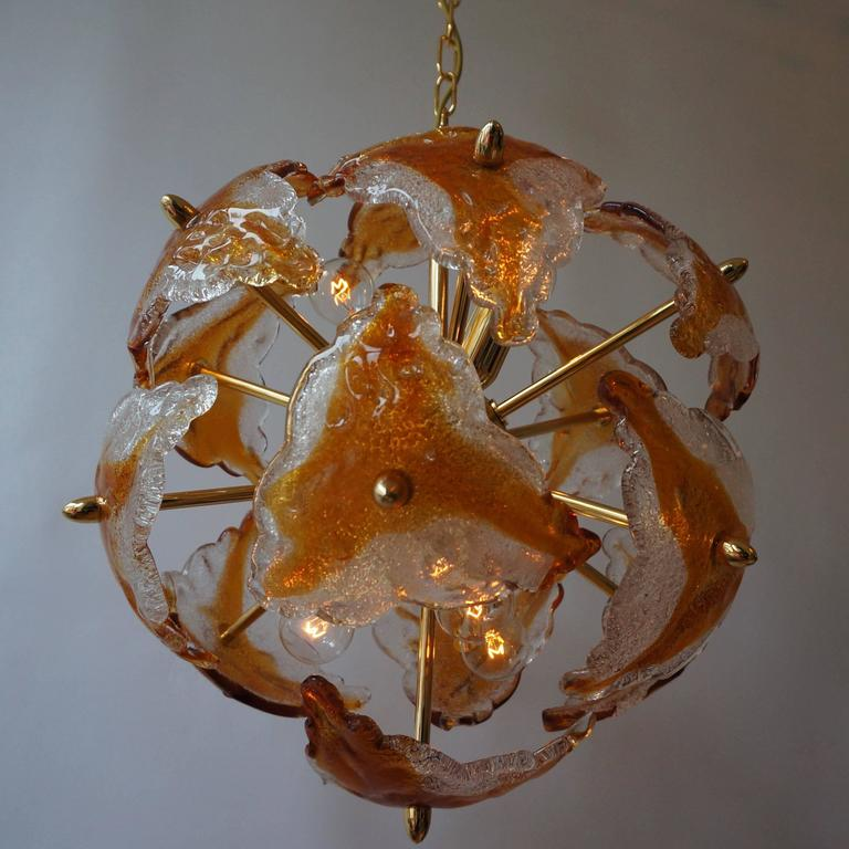 20th Century Three Murano Glass and Brass Sputnik Chandeliers For Sale