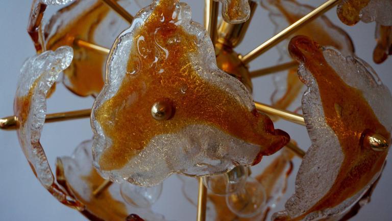 Three Murano Glass and Brass Sputnik Chandeliers For Sale 4