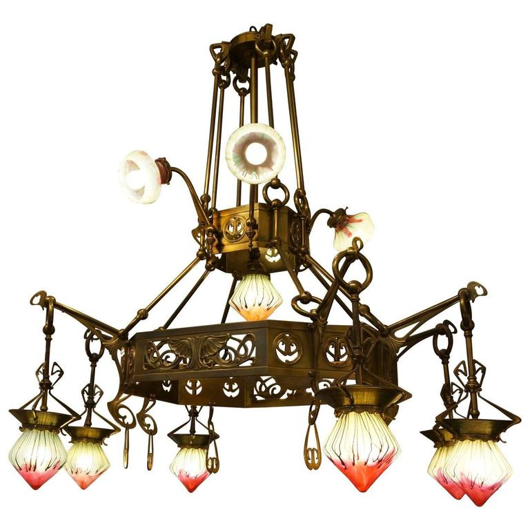 Rare Art Nouveau chandelier with beautiful Elisabeth-Hutte glass shades. Masterpiece and one-off piece.