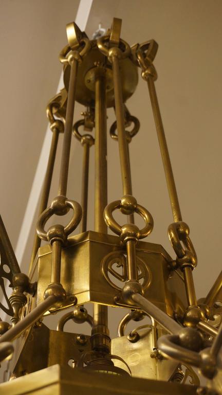 Rare Huge Art Nouveau Chandelier with Elisabeth-Hutte Glass For Sale 2