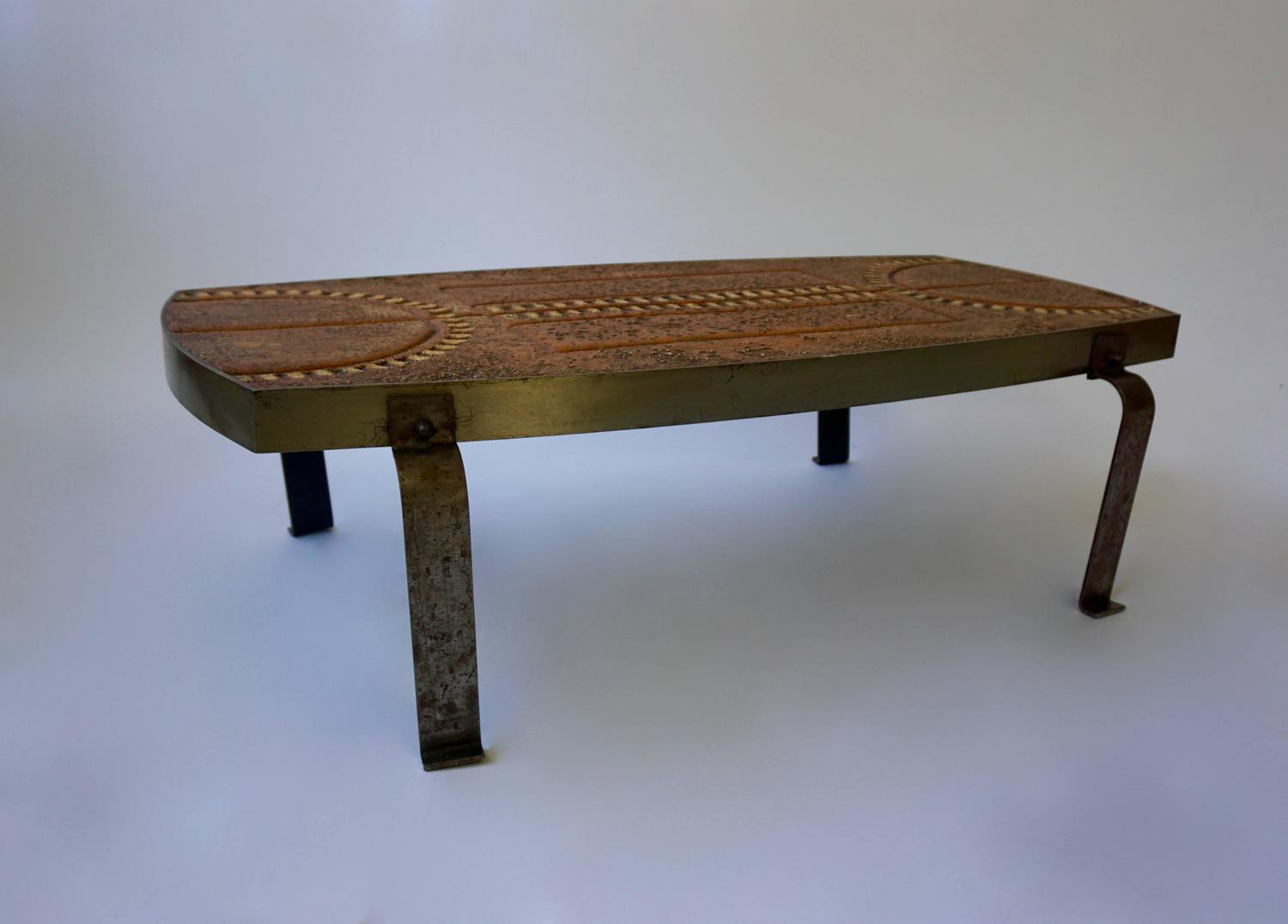 1950s iron and stone coffee table for sale at 1stdibs for Stone and iron coffee table