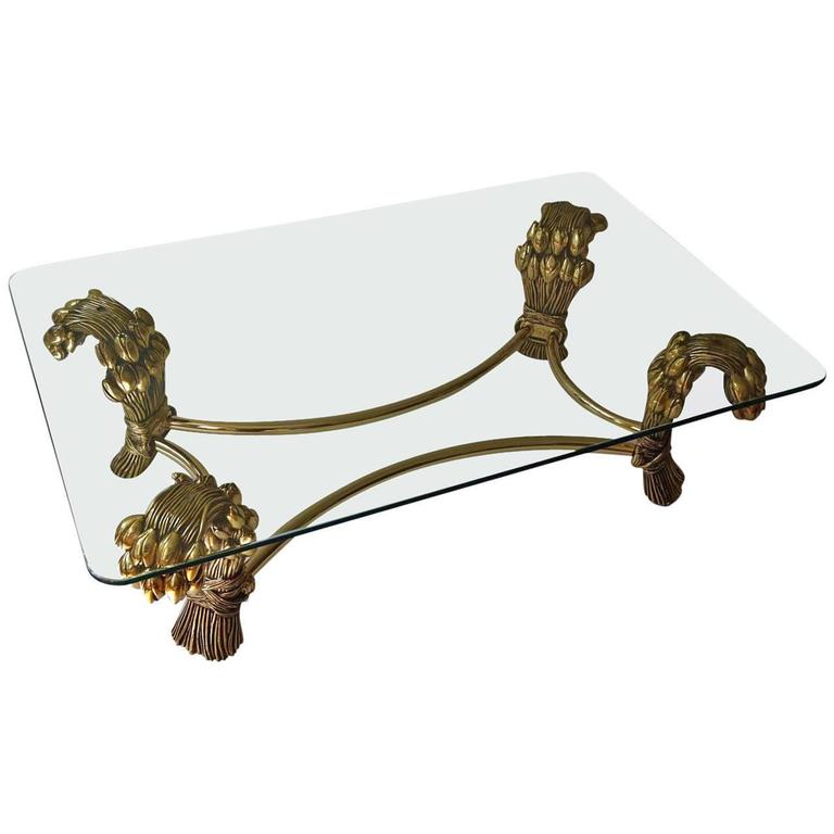 Glass and Brass Coffee Table In the Manner of Maison Jansen.