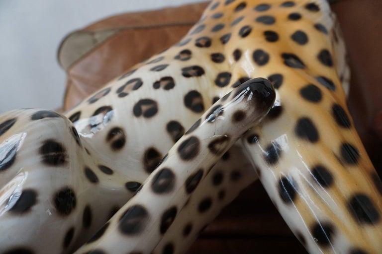 One Large Italian Mid-Century Modern Ceramic Cheetah Sculptures 9