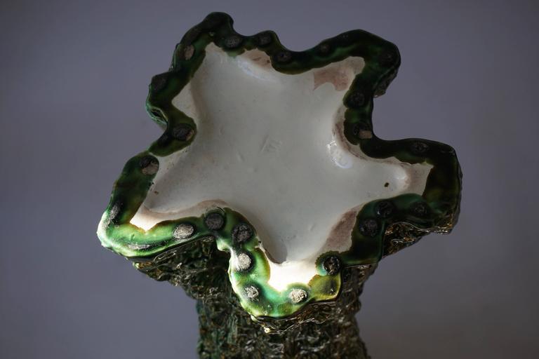 Ceramic Majolica Vase or Umbrella Stand with Birds For Sale