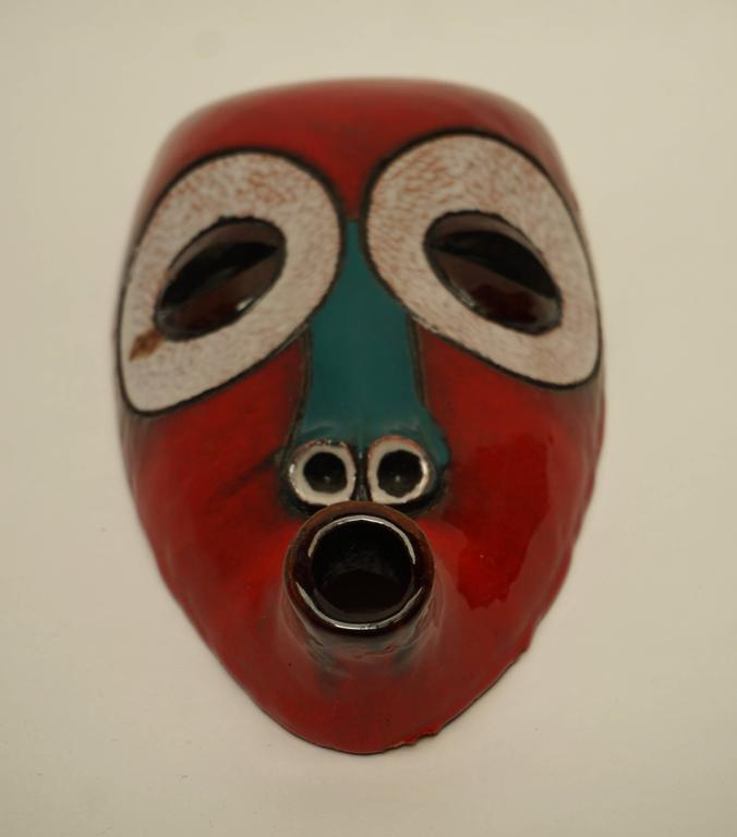 Mid-Century Modern At Manteto Ceramic Wall Mask For Sale