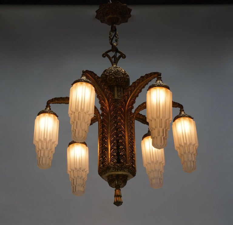 Very Fine Art Deco Bronze and Glass Six-Light Chandelier 2