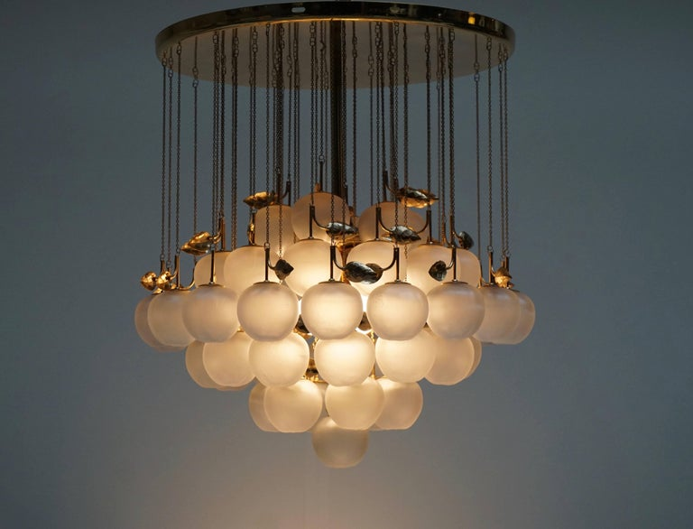 Glass and Brass Chandelier For Sale 4