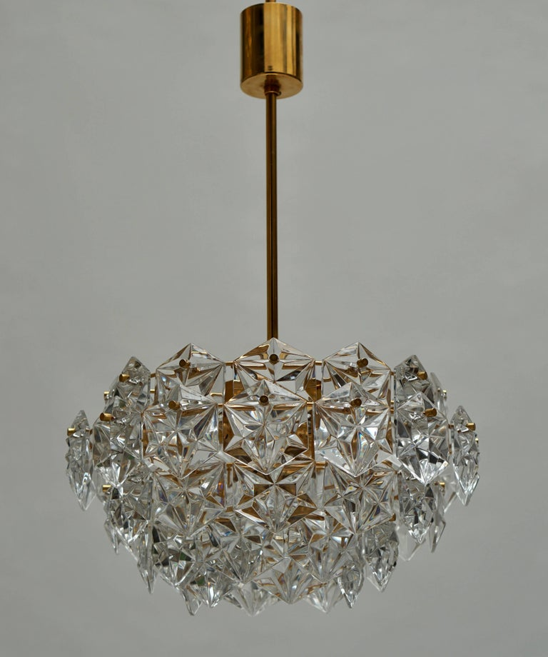 Mid-Century Modern Chandelier, Gold-Plated with Molded-Crystals, Kinkeldey 3