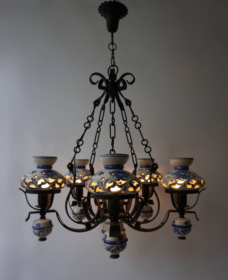 Unique and beautiful antique delft blue oil lamp chandelier converted to electricity.