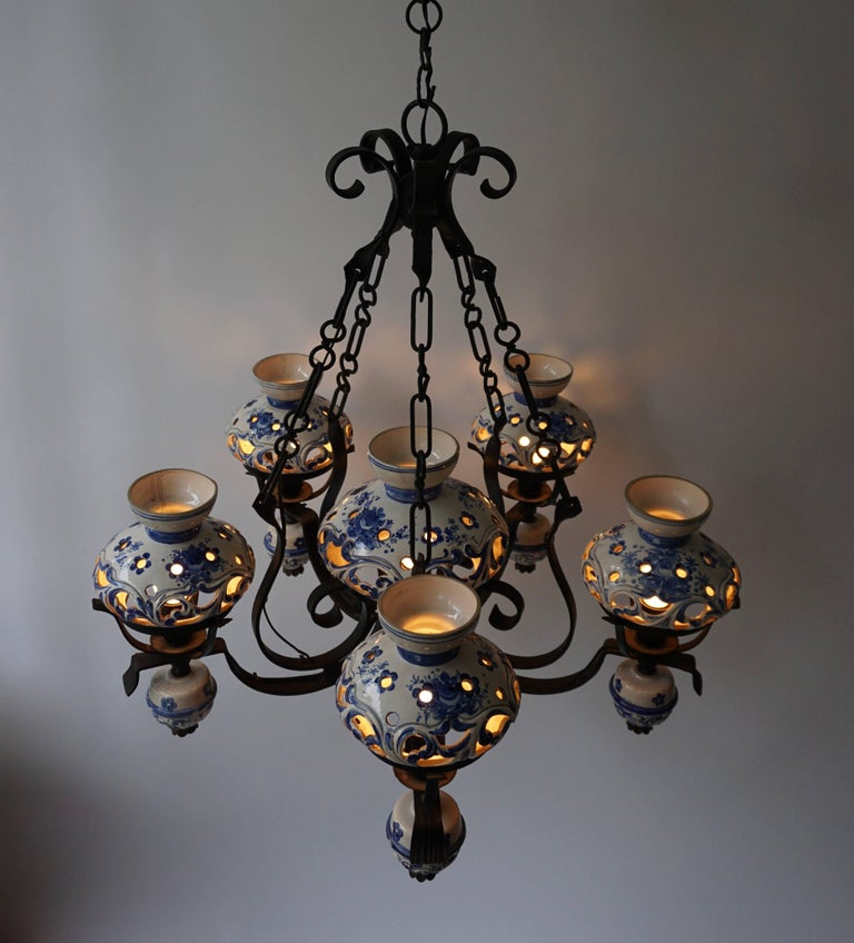 19th Century Unique and Beautiful Antique Delft Blue Oil Lamp Chandelier For Sale