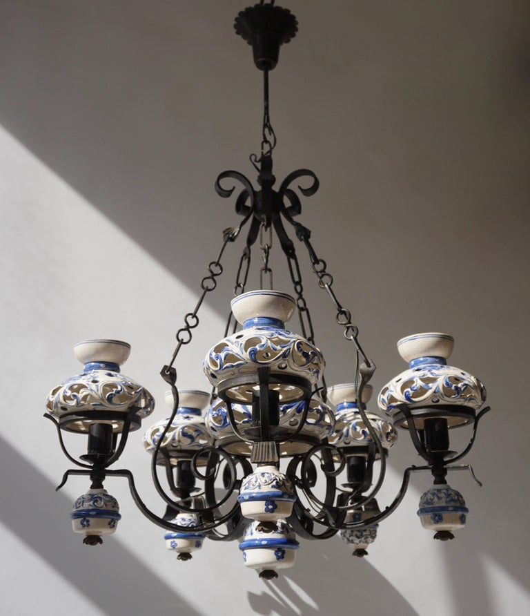 Hollywood Regency Unique and Beautiful Antique Delft Blue Oil Lamp Chandelier For Sale