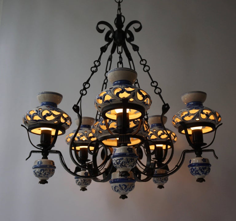 Dutch Unique and Beautiful Antique Delft Blue Oil Lamp Chandelier For Sale
