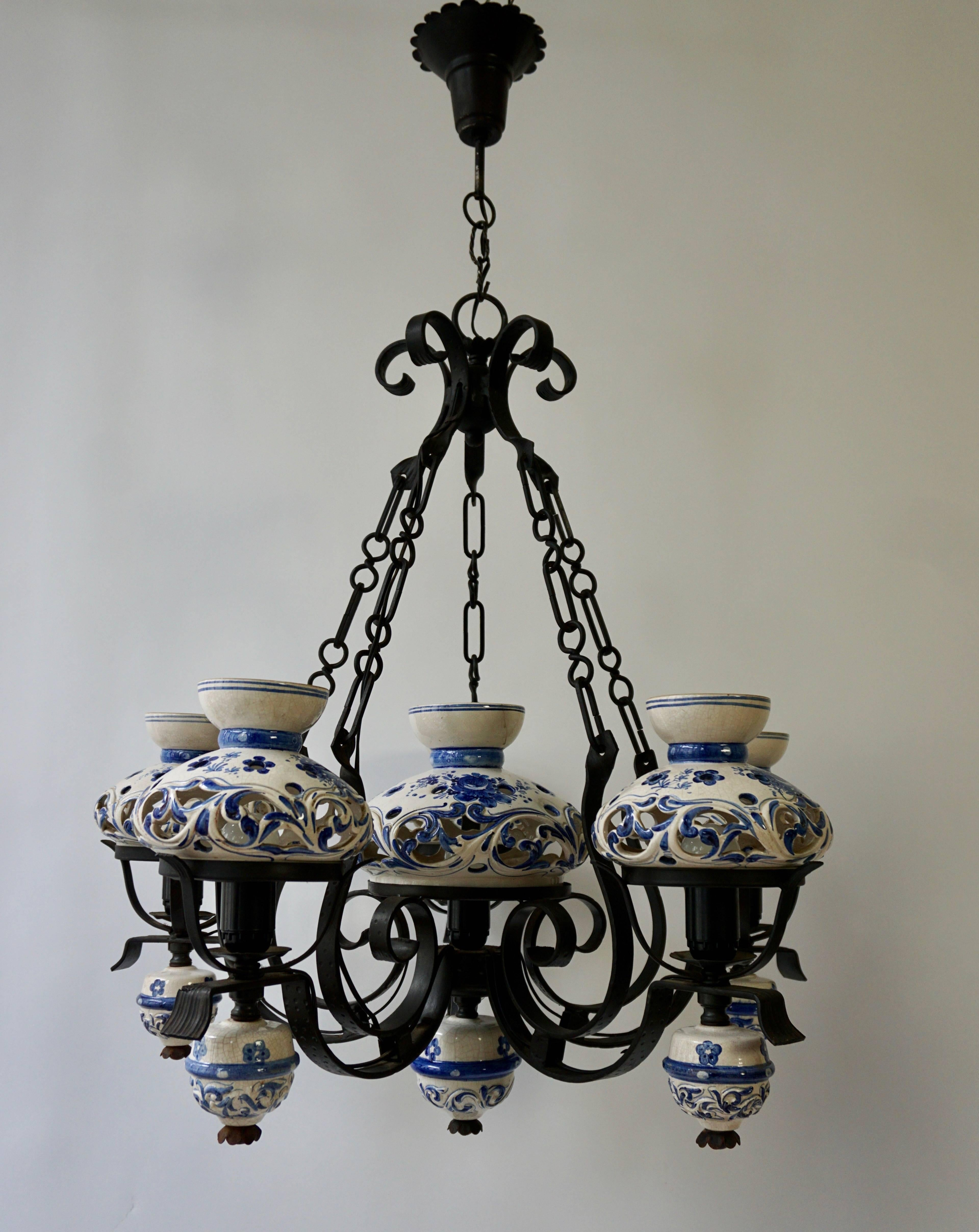 Unique And Beautiful Antique Delft Blue Oil Lamp Chandelier For At 1stdibs