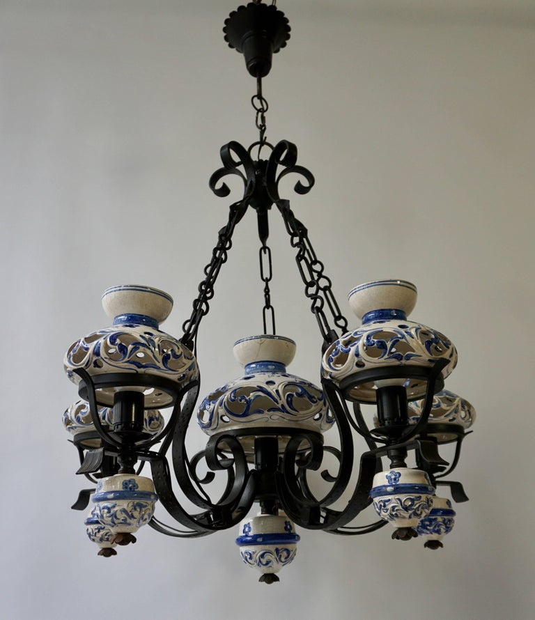 20th Century Unique and Beautiful Antique Delft Blue Oil Lamp Chandelier For Sale