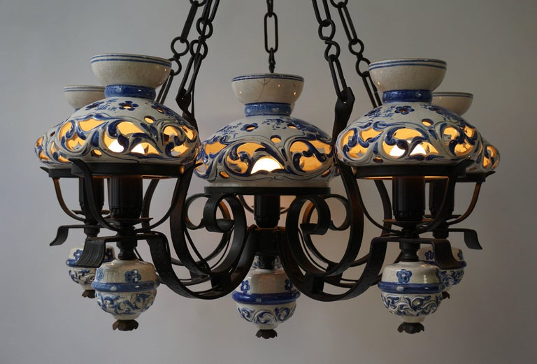 Unique and Beautiful Antique Delft Blue Oil Lamp Chandelier For Sale 2