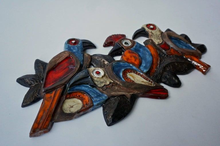Ceramic wall art sculpture with birds. Belgium 1960s. Width:55 cm. Height:28 cm. depth:3 cm.