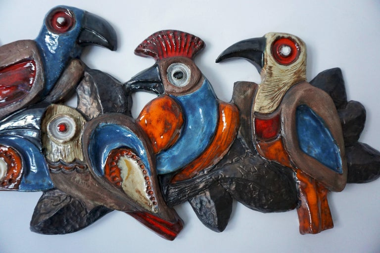 Mid-Century Modern Ceramic Wall Sculpture with Birds For Sale