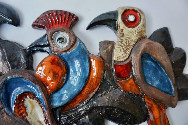 Ceramic Wall Sculpture with Birds In Good Condition For Sale In Antwerp, BE