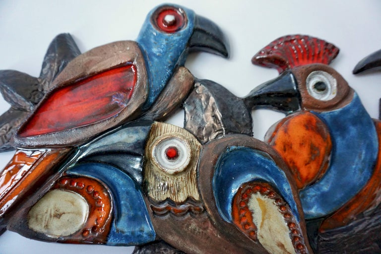 Belgian Ceramic Wall Sculpture with Birds For Sale
