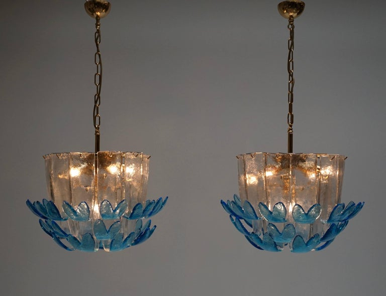 Metal Two Rare Murano Glass Chandeliers by Alfredo Barbini For Sale