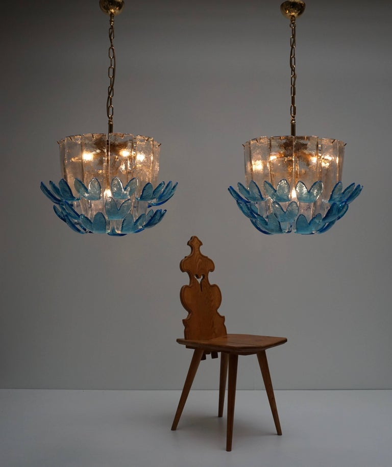 Two Rare Murano Glass Chandeliers by Alfredo Barbini For Sale 1